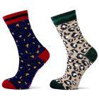 Katoenen meiden sokken metLeopard print. Yellow Moon 28039 kopen| Sokken-online.nl