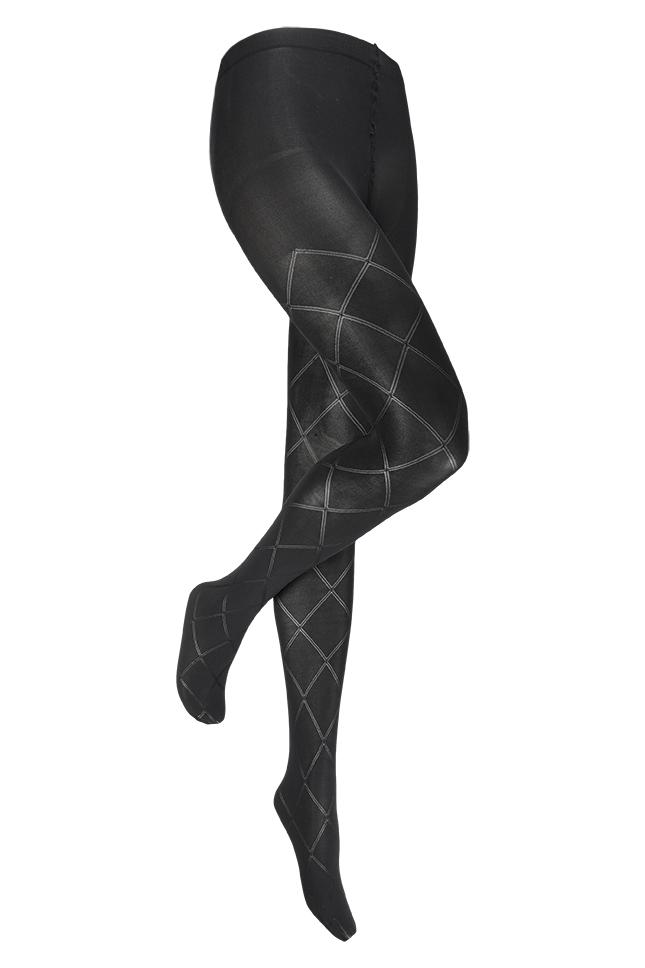 60 denier panty met ruiten motief-S/M-Black