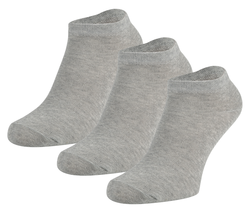 Sneakersokken van katoen -Grey melange-31/34