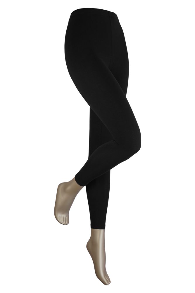 Lange dames legging van katoen-XXL-Black