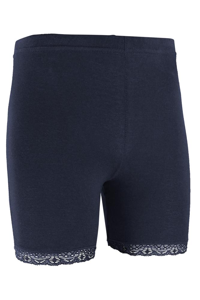short legging van katoen met kant rand-Marine-158/164
