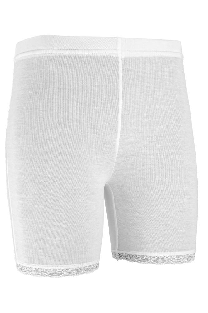 short legging van katoen met kant rand-White-158/164